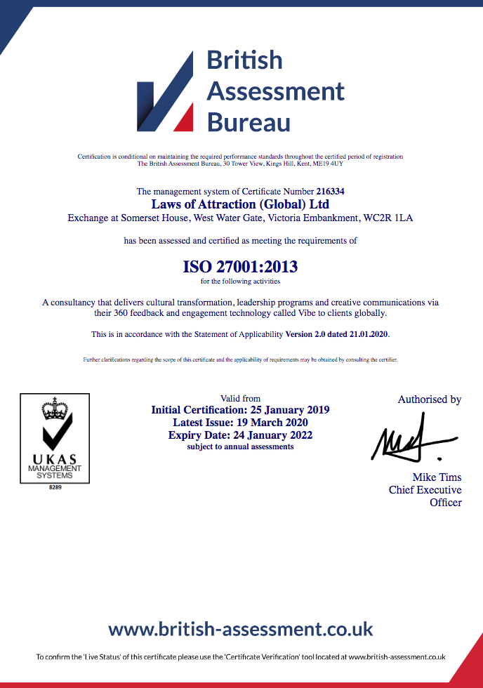Laws of Attraction - ISO:27001 Certificate